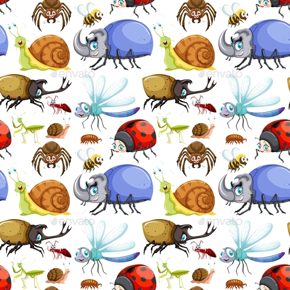 Seamless Background Design with Many Insects - Animals Characters
