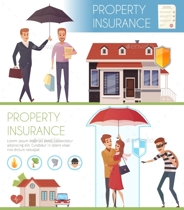 Property Insurance Horizontal Banners - People Characters