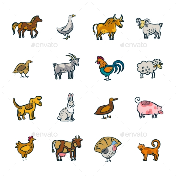 Line Farm Animals Set - Animals Characters