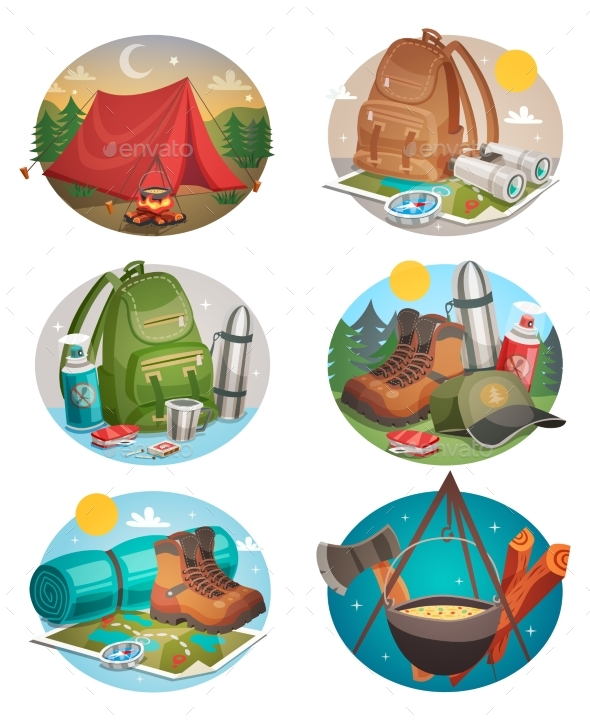 Camping Round Compositions Set - Sports/Activity Conceptual