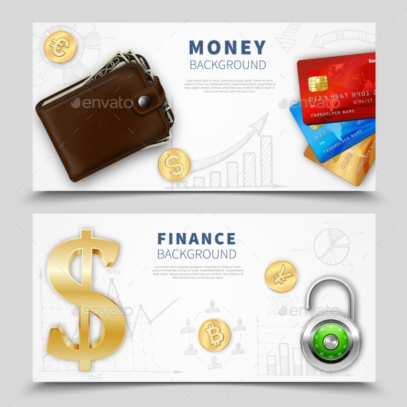 Realistic Money Horizontal Banners - Abstract Conceptual