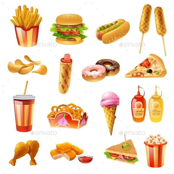 Fast Food Menu Colorful Icons Set - Food Objects