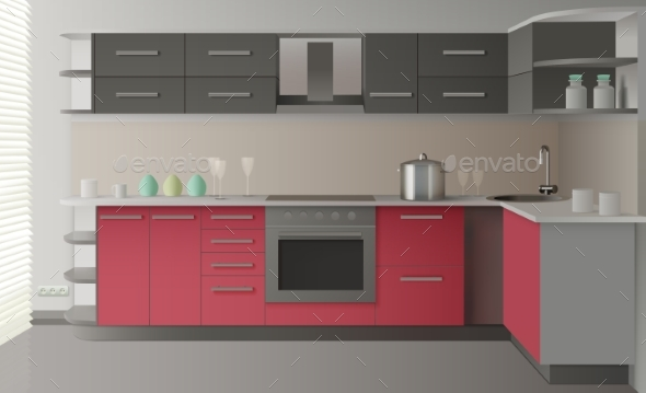 Modern Kitchen Interior - Decorative Vectors