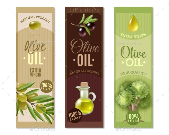 Olive Vertical Banners Set - Organic Objects Objects