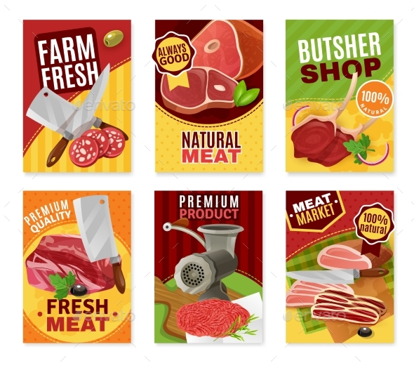 Butcher Banners Set - Food Objects