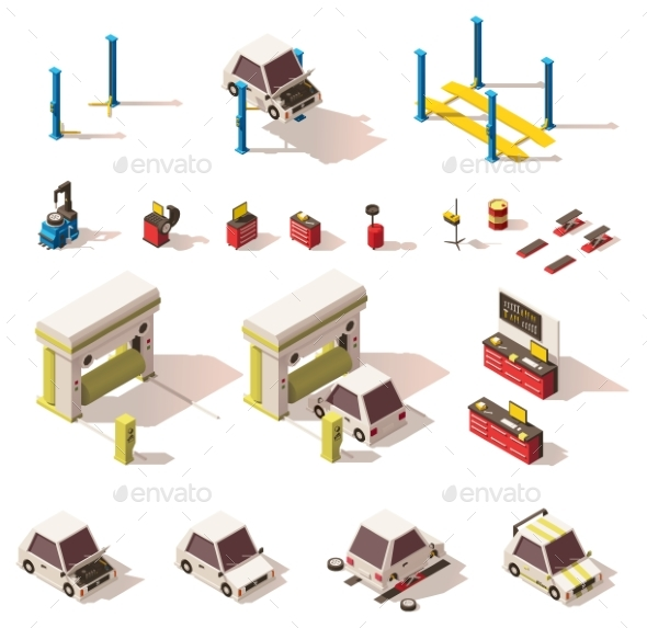 Vector Isometric Car Service Equipment Set - Buildings Objects