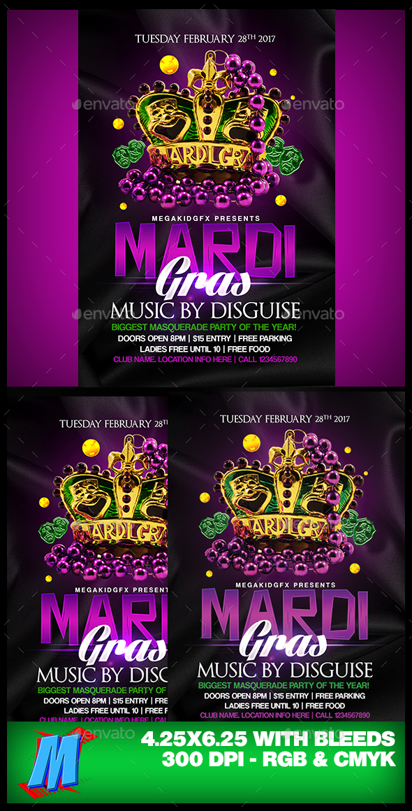 Mardi Gras Flyer Template By Megakidgfx Graphicriver