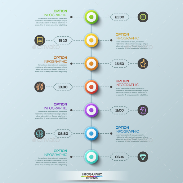 Modern Infographic 7 Steps Timeline Template - Infographics