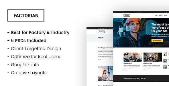 Factorian – Industry and Factory PSD Template