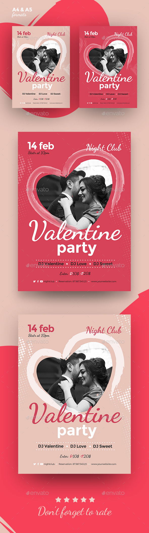 Valentines Day Flyer/Poster Event - Clubs & Parties Events