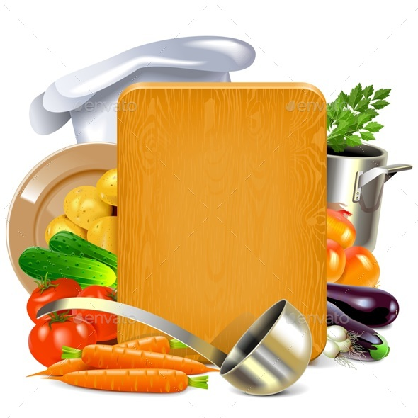 Vector Cooking Board - Food Objects