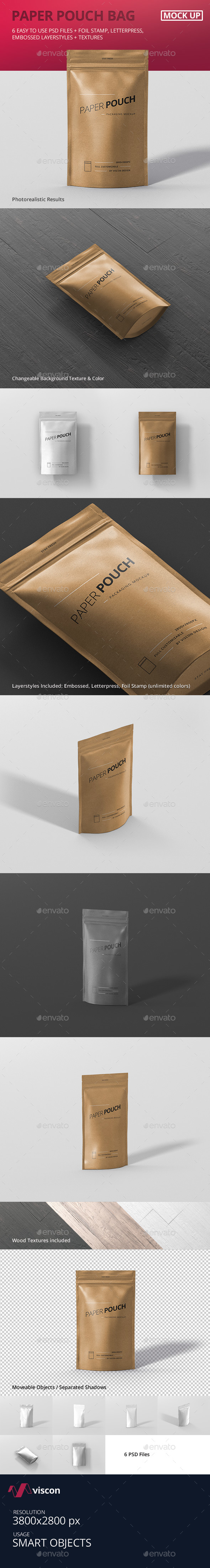 Paper Pouch Bag Mockup - Food and Drink Packaging