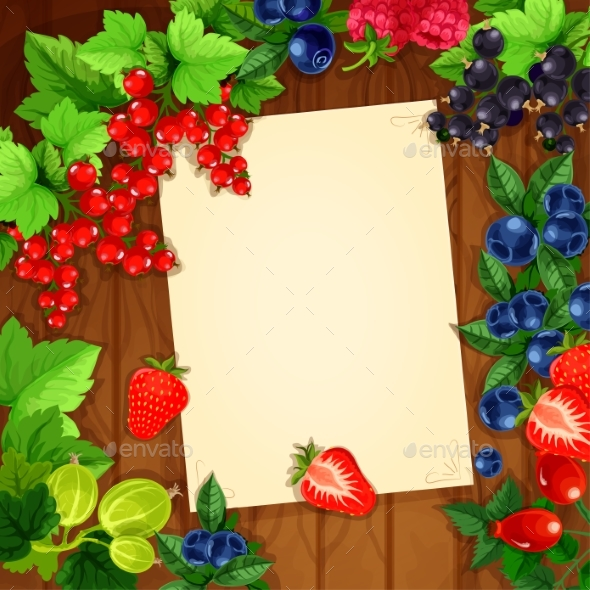 Berries Recipe or Message Note Blank Form - Food Objects