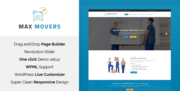 Max Movers – Moving Company WordPress Theme