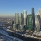 Business Center Moscow City in the Winter Day Aerial  Flight Around the Skyscraper on Drones - VideoHive Item for Sale