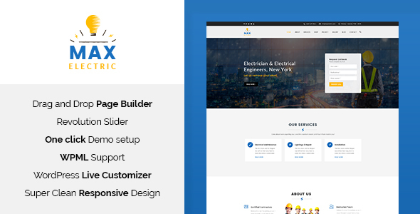 Max Electric – Electrician WordPress Theme