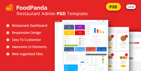 Admin FoodPanda – Dashboard Psd Template