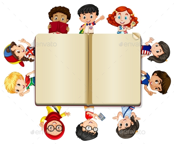 Blank Book and Lots of Children - People Characters