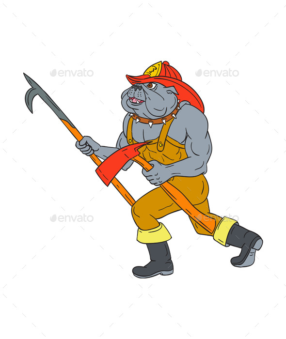 Bulldog Firefighter Pike Pole Fire Axe Drawing - Animals Characters