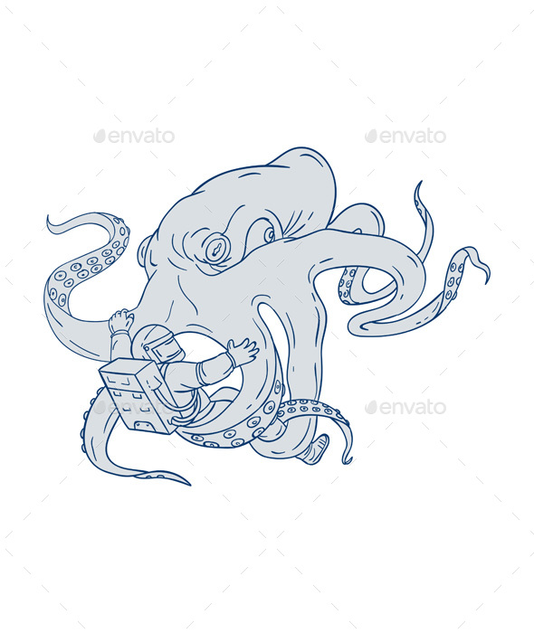 Giant Octopus Fighting Astronaut Drawing - Animals Characters