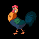 Colorful Rooster Walks. Classic handmade Animation with Alpha Channel. - VideoHive Item for Sale