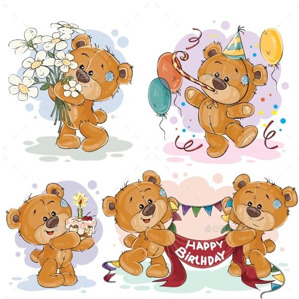Clip Art Illustrations of Teddy Bear Wishes - Birthdays Seasons/Holidays