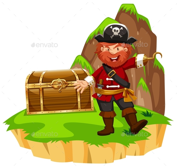 Pirate and Wooden Chest on Island - People Characters