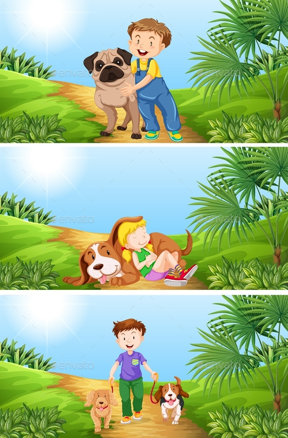 Boy and Girl with Pet Dog - People Characters