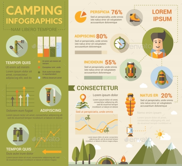 Camping Poster Brochure Cover Template - Travel Conceptual