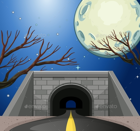 Scene with Tunnel at Night - Landscapes Nature