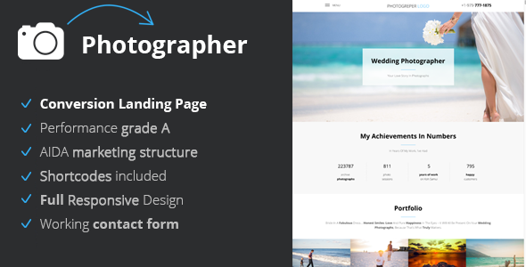 Photographer – Conversion Landing Page For Photographers