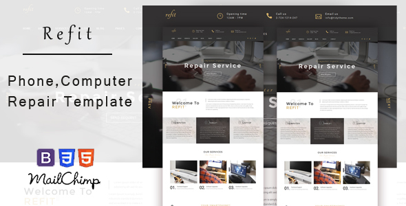 Image of Refit - Phone, Computer Repair Shop  HTML Template