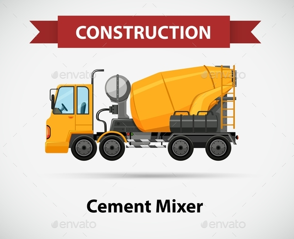 Constructin Icon with Cement Mixer - Man-made Objects Objects