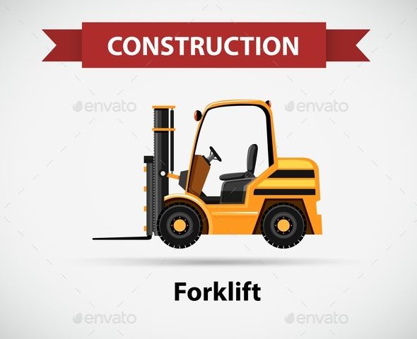 Icon Design for Construction with Forklift Truck - Man-made Objects Objects