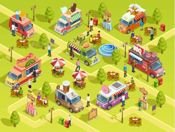 Food Trucks Outdoors Isometric Composition Poster - Concepts Business