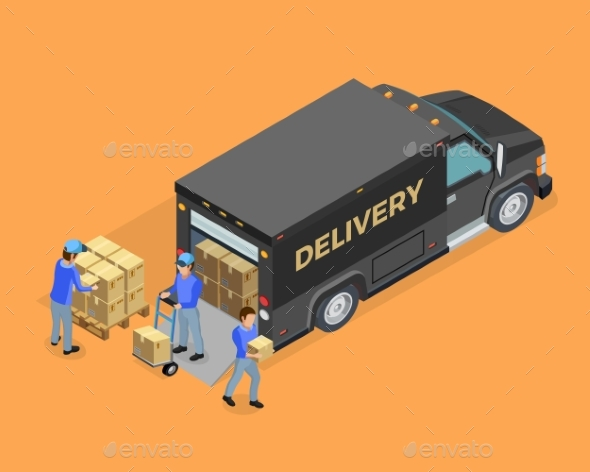Unloading Isometric Concept - Services Commercial / Shopping