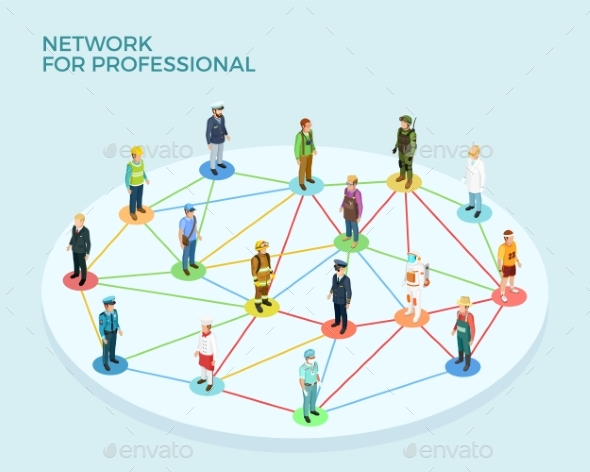 Network Professional Isometric Concept - People Characters