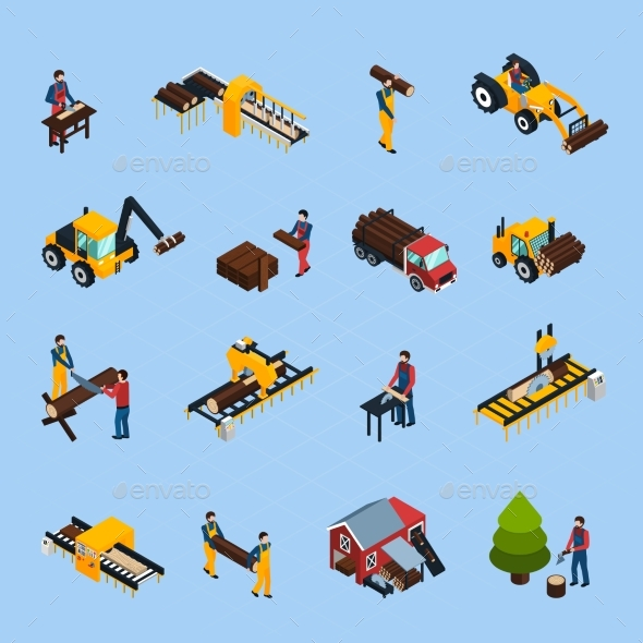 Sawmill Isometric Icons Set - Industries Business