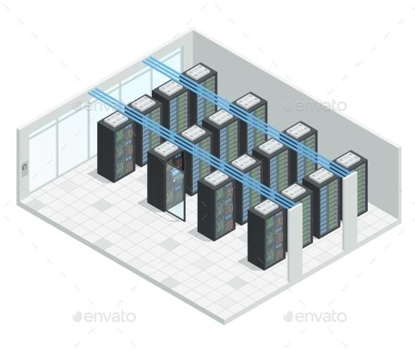 Server Room Isometric Interior - Computers Technology