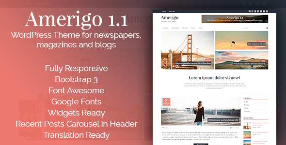Amerigo – Responsive WordPress Theme for newspapers, magazines and blogs