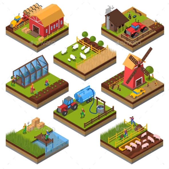 Agricultural Compositions Isometric Set - Industries Business