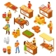 Farmers  Marketplace Isometric Set - GraphicRiver Item for Sale