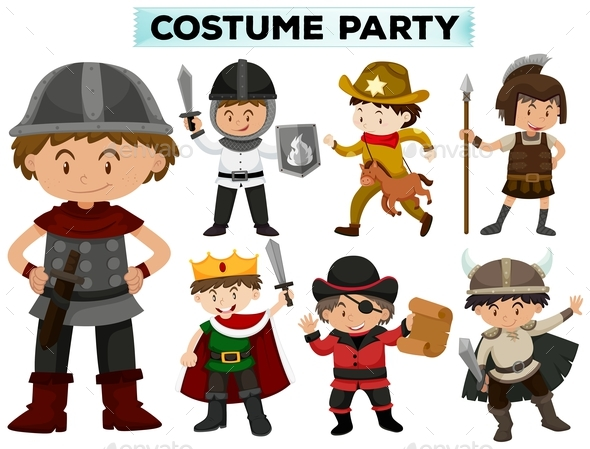 Costume Party with Boys in Different Costumes - People Characters