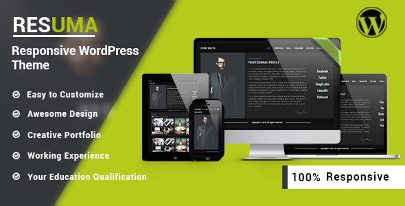 Resuma  – Resume Portfolio Responsive WordPress Theme
