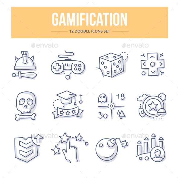 Gamification Doodle Icons - Objects Icons