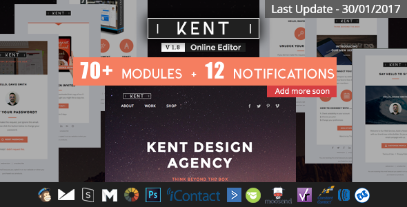 Kent - Responsive Email Set + StampReady Online Builder - Newsletters Email Templates