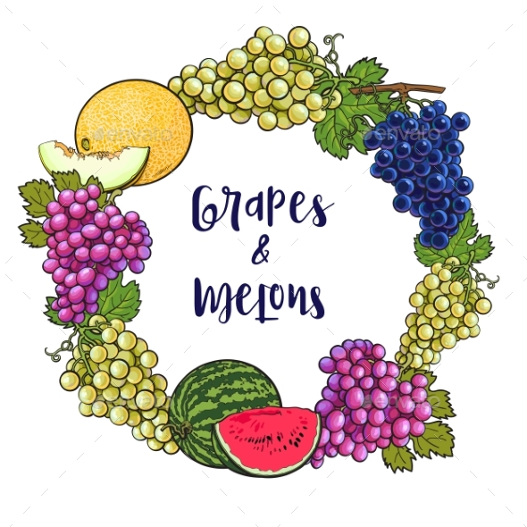 Round Frame of Grapes and Melons - Flowers & Plants Nature