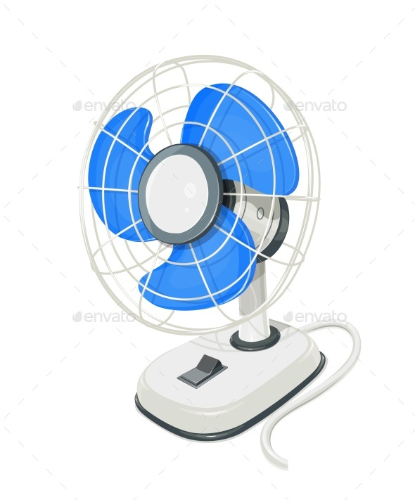 Desk Air Electric Fan with Button - Man-made Objects Objects