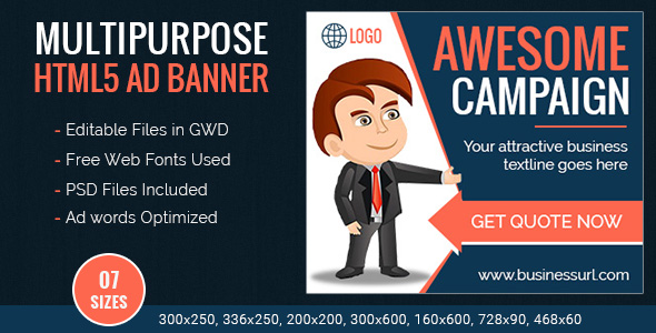 GWD | Multipurpose HTML5 Ad Banner Templates - 7 Sizes - CodeCanyon Item for Sale