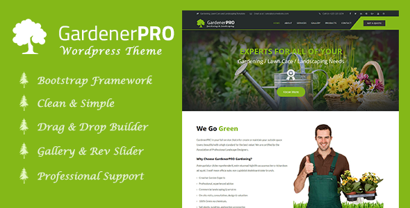GardenerPro – Gardening, Lawn Care and Landscaping WordPress Theme